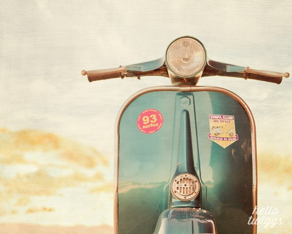 Items similar to blue vespa photography vintage style - Vintage inspired wall art ...