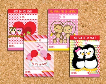 Animal Love Classroom Valentines, Cute Class Valentines for Kids - DiY Printable, Instant Download || Untamed Lovable Hearts Collection