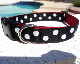 "Dog Collar 1"" wide adjustable Side Release buckle White  Polka Dots -  martingale is cost upgrade"
