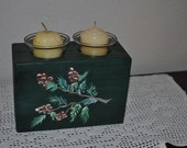 Lodge Look Pinecone Wooden Christmas  Country Candle Holder