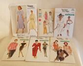 Lot of 6 Vintage Sewing Patterns Vintage Vogue Patterns Sizes 6 8 10 One is Designer Albert Nipon 1375 Sz 10 Vogue 7359 7475 7090 7385 7335