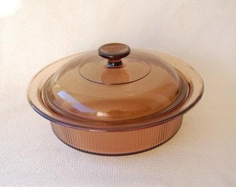 Vintage Corning Visions V-32-B Large Covered Round Casserole Vintage Amber Glass 1.5 Liter capacity