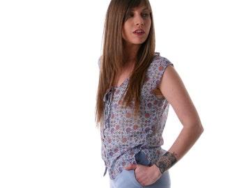 SALE, Anchor printed women tank, Buttoned down chiffon blouse