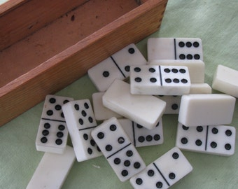 Vintage Dominos in Wooden Box    / Altered Art / Photo Prop
