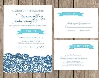 Bold Blooms Wedding Invitation - DEPOSIT