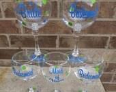 SET OF FIVE  Bridesmaid Jumbo Acrylic Wine Glass