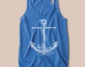Anchor Eco Heather Racerback Tank Top in Blue