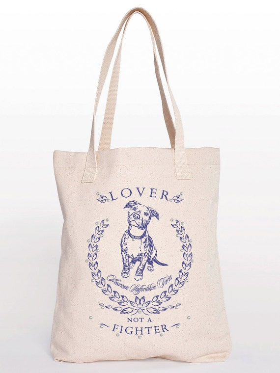 Pit Bull Studded Cotton Shopping Bag Canvas Tote