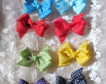 Boutique Hairbow for Toddler Baby Girl Hair bow Set of Two in Pick your own Color Combination
