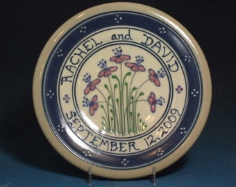 """9"""" Wedding Plate or Baby Child Plate Blue Flowers with Pink and Green Accents Made to Order"""