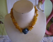 vintage AMBER NECKLACE with Vocanic Turquoise Pendant FREE Domestic Shipping
