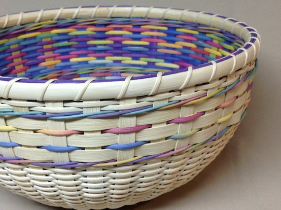 How To Weave A Basket Out Of Reeds : Hand woven round bowl type basket easter double wall