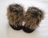 High leg booties, snow boots, fur trim, baby shower, unisex booties, extra warm, brown, baby shower