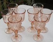 8 Pink Swirl Rosaline Goblets Made in France - Oak Hill Vintage