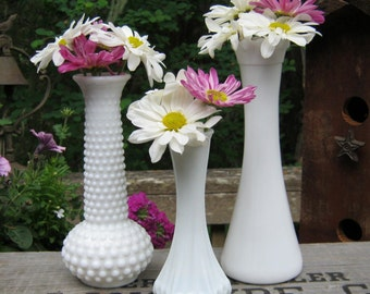 Trio of Milk Glass Bud Vases in Three Sizes - Wedding Centerpiece - Oak Hill Vintage
