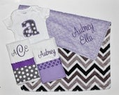 Personalized DOUBLE MINKY CHEVRON Baby Girl Stroller Blanket Plus 2 Burp Cloths and Initial Bodysuit - Lavender and Gray