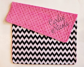 Chevron PERSONALIZED Baby Girl Stroller Blanket with Hot Pink Minky