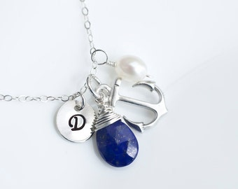 Initial Necklace, Anchor Necklace, Lapis Lazuli Initial Necklace, Personalized Initial Anchor Necklace, Sterling Silver, Bridesmaids Gift