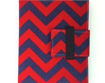 iPad Case, iPad Cover, iPad Stand in red and navy blue chevron