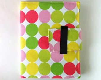 iPad Case - Fits all generations.  Folding cover or stand in Modern Pink Green and Yellow Dots