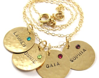 Handstamped  Necklace - Personalized Necklace - Charm Necklace  - 4 Names - 14k yellow gold filled with Birthstones  - Free Shipping