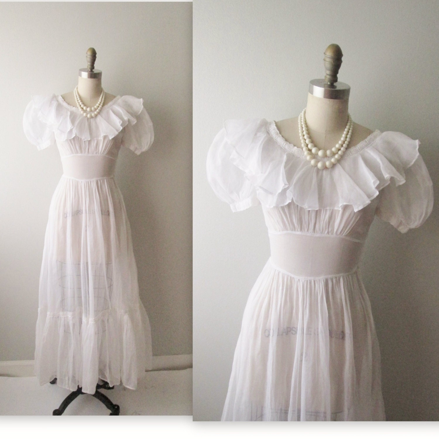 40s Wedding Dress // Vintage 1940s White Organdy Full Length