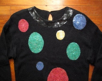 women's vintage circular sequin party sweater.