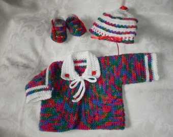 Newborn/ Reborn  to 3 Months Snow Capped Infant Sweater Jacket Set