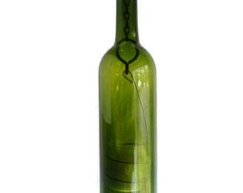 Green Glass Wine Bottle Candle Holder Hanging Hurricane Lantern