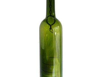 Green Glass Wine Bottle Candle Holder Hanging Hurricane Lantern