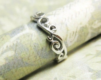 Scroll Ring, Wedding Band, 14K White Gold Filigree Ring, Ocean Waves, Hand Sculpted, One of a Kind, Custom, Personalized, Engraved