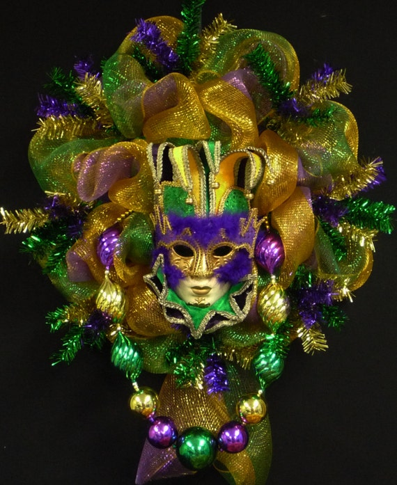 Mardi Gras Mask Wreath Decor Poly Mesh Fleur De