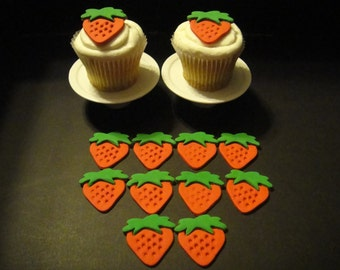 Strawberry Fondant Cupcake Toppers