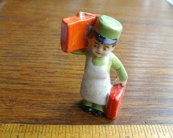 German bisque. DOLLHOUSE MINIATURE. Miniature Man. Hotel Porter. Hotel Bellhop. Man Figurine. Dollhouse Figure. miniature figurine.