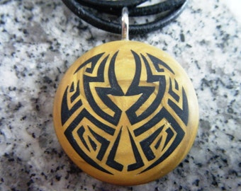 Ancient Mayan Maze hand carved on a polymer clay Antique gold color background. Pendant comes with a 3mm necklace