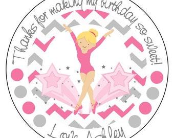 gymnastics label stickers, gymnastics party supplies, gymnast birthday stickers, pink chevron stickers, 3 sizes available