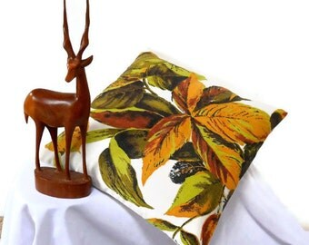 SALE vintage Fabric Retro cushion in 50s 60s Orange and Lime  Leaf  Barkcloth