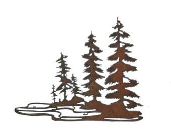 Trees at the Waters Edge Metal Art Recycled steel Wilderness Art custom metal