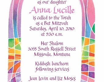 Rainbow Tallit Bat Mitzvah Invitation PDF file