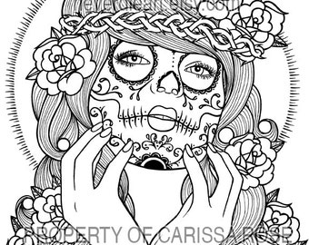 16 page black and white adult coloring book never die art - Coloring Pages Roses Skulls