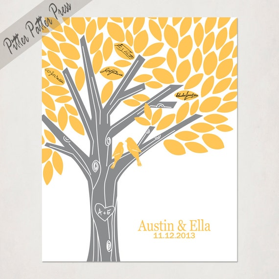 Wedding Guest Book Alternative // Poster  or Canvas Sign for signatures // Custom Birds // Tree with names // Gray Yellow // 16X20 or 18X24