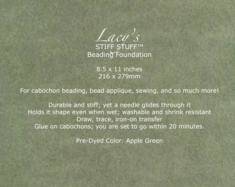 """Tools & Supplies-Lacy's Stiff Stuff-Beading Foundation-8.5""""x11"""" Pre-Dyed-Apple Green-Quantity 1"""