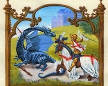 PRINT Here Be Dragons in Medieval Calligraphy Art Print with St George and the Dragon and a Medieval Castle