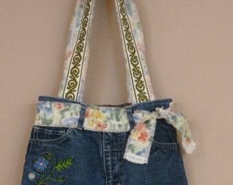 Recyled denim shorts purse