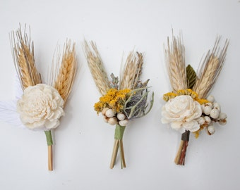 Harvest Gold Boutonnieres, Set of 3 // Sola Flower // Boutonnieres // Flower Boutonniere