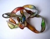 Hand Dyed Painted Habotai - Silk Wrap Bracelet - brown green rust fawn blue - Fairy Ribbon, DIY wrap bracelet, Silk Bracelet, Ribbon Wrap