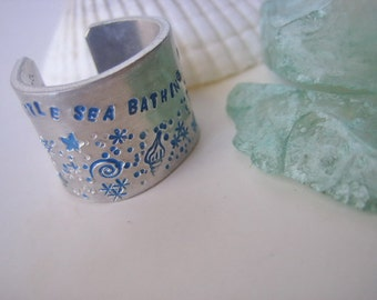 Beach Ring - Extra Wide Ring Band - A little seabathing is in order -  Hand Stamped Aluminum Band Ring - Beach Lover - Beach gift