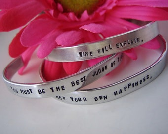 Jane Austen Quotes Cuff Bracelets - Set of 3 - Time will explain, know your own happiness, you must be the judge of your own happiness
