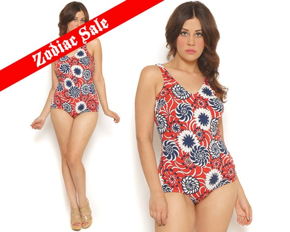 60s Bathing Suit Red White Blue Psychedelic Patriotic One Piece Swimsuit 1960s Mod Retro Bating Suit Bombshell / Size M L Medium Large