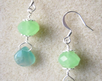 Beautiful Spring Silver Plated Green Chalcedony and Peridot Stone Earrings